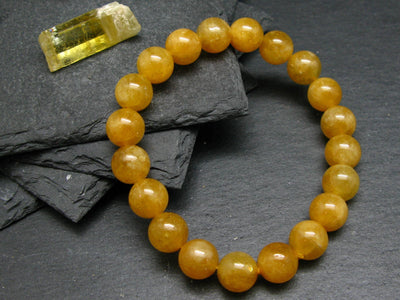Heliodor Golden Beryl Genuine Bracelet ~ 7 Inches ~ 10mm Round Beads
