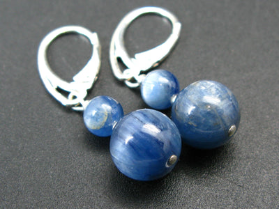Exotic Blue Kyanite Crystal (also known as cyanite or disthene) Round Beads Dangle 925 Silver Leverback Earrings