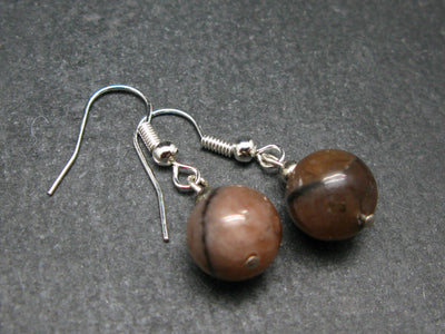 Andalusite (Variety of Chiastolite) 10mm Round Beads Dangle Shepherd Hook Earrings from China