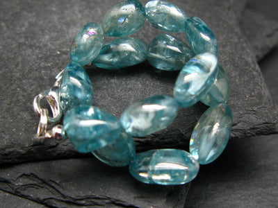 Gem Blue Zircon Genuine Bracelet ~ 7 Inches ~ 10mm Tumbled Beads