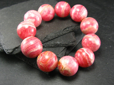 Rhodochrosite Genuine Bracelet ~ 8 Inches ~ 20mm Round Beads