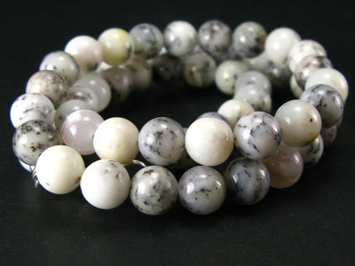 "Merlinite Moss Agate Necklace Beads From Brazil - 19"" - 8mm Round Beads"