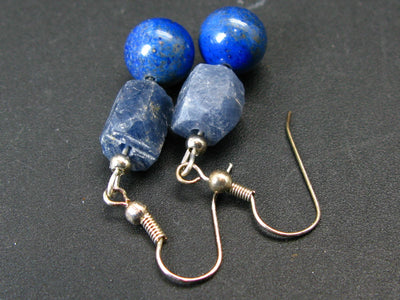 Lucky September Stone - Combination Blue Sapphire and Lapis Lazuli Beads Dangle Shepherd Hook Earrings