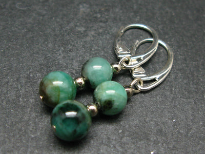 Minimalist and Chic Design Emerald 7-8mm Round Beads Dangle 925 Silver Leverback Earrings