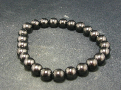Shungite Bracelet with 8mm Round Beads From Russia - 7""