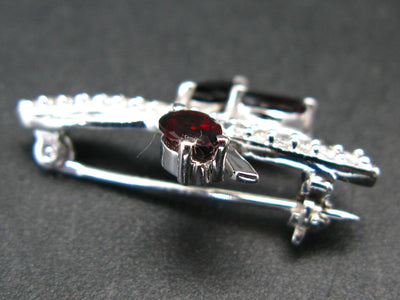 Sterling Silver Brooch Pin with 3 Pear Shaped Red Garnet Almandine Gems and CZ - 1.2""