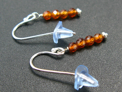 Simplicity at its Best! Sparkly faceted Carnelian Tiny Beads Silver Dangle Shepherd Hook Earrings