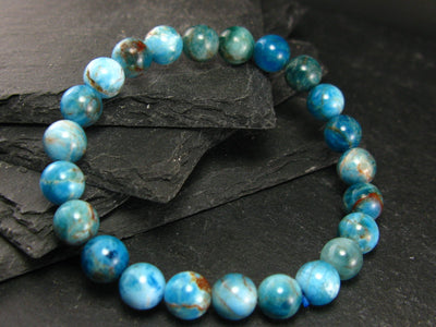Neon Blue Apatite Genuine Bracelet ~ 7 Inches ~ 8mm Round Beads