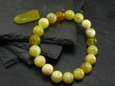 Yellow Opal Genuine Bracelet ~ 7 Inches ~ 10mm Round Beads