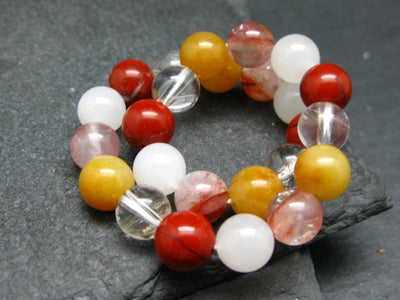 5x Azeztulite Types in One - Himalayan Gold, Satyaloka, White, Agnitite & Red Fire Genuine Bracelet ~ 7 Inches ~ 8mm Round Beads