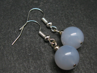 Minimalist and Chic Design - 10mm Natural Blue Chalcedony Round Beads Dangle Shepherd Hook Earrings from Turkey