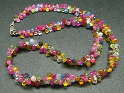 200 Carats!! Sparkly Faceted Natural Fancy Multi Color Sapphires Gemstone Bead Necklace from India - 19""