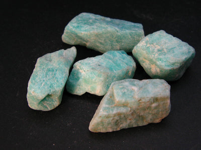Amazon stone!! Lot of 5 Natural Rough Amazonite (green microcline) from Madagascar