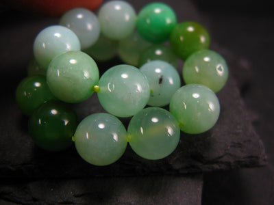Chrysoprase Genuine Bracelet ~ 6.5 Inches ~ 10mm Round Beads