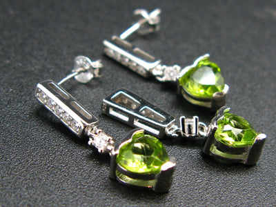 Cool Contemporary Style!! Natural Faceted Peridot Olivine Rhodium Plated Sterling Silver Set Stud Earring Pendant with CZ