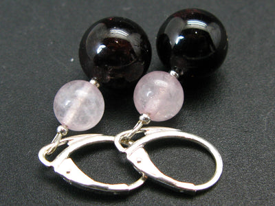 Lucky January Stone - Combination Rose Quartz and Red Garnet Almandine Round Beads Dangle 925 Silver Leverback Earrings
