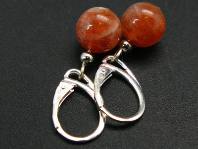 Shiny AAA Grade Genuine Sunstone Round Beads Dangle 925 Silver Leverback Earrings