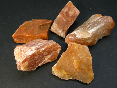Lot of 5 Natural Rough Red - Brown Aventurine Stones from Brazil