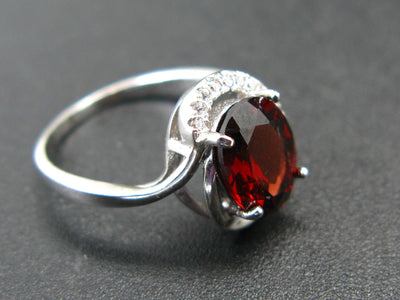 Natural Faceted Red Garnet Rhodium Plated Sterling Silver Ring with CZ - Size 5.5