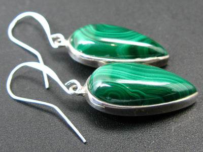 Queen of Green!! Rich Vivid Vibrant Green Malachite Dangling SS Earrings
