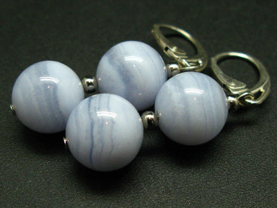 Gem of Ecology!! Natural Blue Lace Agate Round Beads Dangle 925 Silver Leverback Earrings