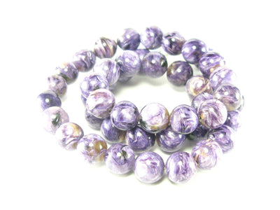 Charoite AAA Quality Necklace Round Beads From Russia - 19""