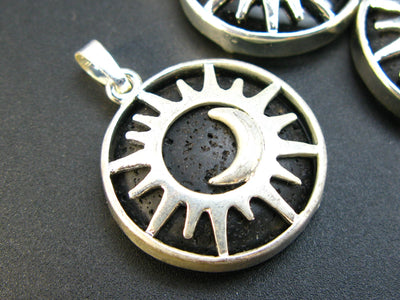 Lot of 3 Natural Lava Round Pendant with Sun and Moon