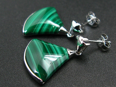 Geometric Modernist Large Statement natural Malachite Rhodium Plated Sterling Silver Stud Earrings - 0.9""