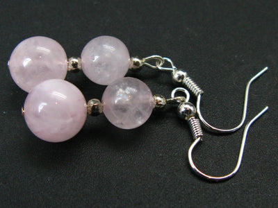 Minimalist and Chic Design - 8mm and 10mm Pastel Rose Quartz Round Beads Dangle Shepherd Hook Earrings
