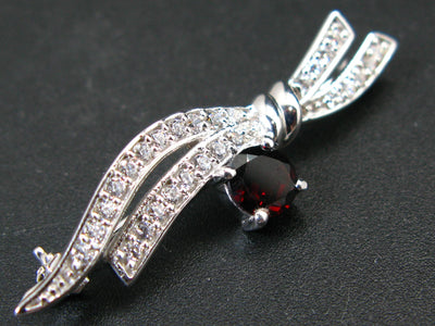 Love and Passion!! Sterling Silver Brooch Pin with Round Shaped Red Garnet Almandine Gems and CZ - 1.7""