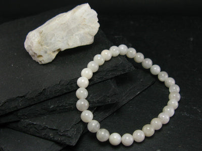 Moonstone Genuine Bracelet ~ 6.5 Inches ~ 6mm Round Beads