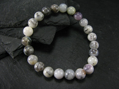 Merlinite Moss Agate Genuine Bracelet ~ 7 Inches ~ 8mm Round Beads