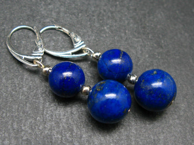 Minimalist and Chic Design -10mm and 12mm Natural Lapis Lazuli Round Beads Dangle 925 Silver Leverback Earrings from Afghanistan