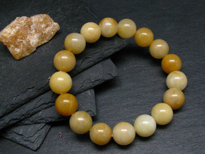Himalayan Gold Azeztulite Genuine Bracelet ~ 7 Inches ~ 12mm Round Beads