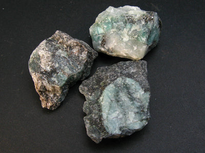 Lot of 3 Rough Natural Emerald Beryl from Brazil
