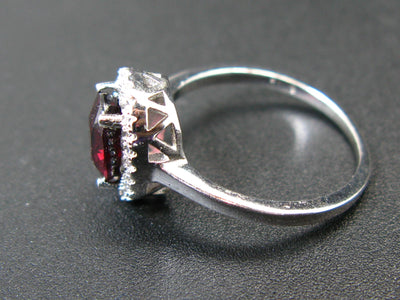 Natural Faceted Red Garnet Rhodium Plated Sterling Silver Ring with CZ - Size 6.5