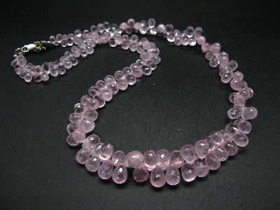 200 Carats!! Sparkly Faceted Natural Morganite Gemstone Bead Necklace from Brazil - 18.5""