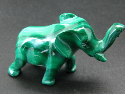 Rich Vivid Vibrant Green Malachite Elephant Carving From Congo - 2.3""