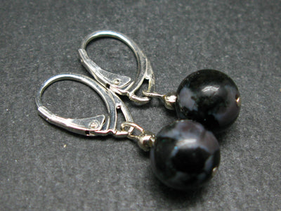 Mystic Merlinite 10mm Beads Dangle 925 Silver Leverback Earrings from Madagascar