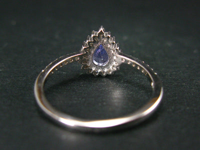 Natural Pear Shaped Blue Tanzanite (Zoisite) Crystal Sterling Silver Ring with Small CZ From Tanzania - Size 8