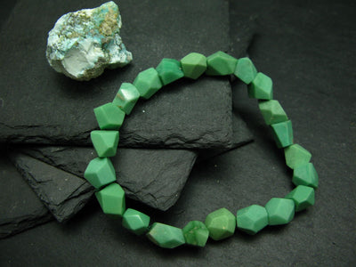 Variscite Genuine Untreated Bracelet ~ 7 Inches ~ 10mm Facetted Beads