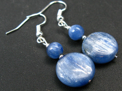 Exotic Coin Round Shape Blue Kyanite Crystal (also known as cyanite or disthene) Beads Dangle Shepherd Hook Earrings