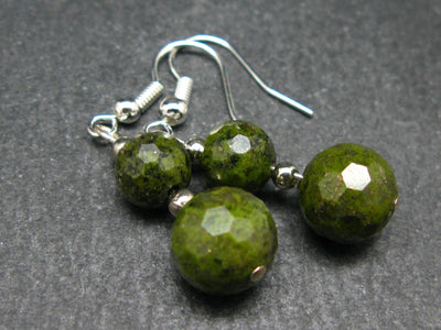 Minimalist and Chic Design - 8mm and 10mm Faceted Epidote Round Beads Dangle Shepherd Hook Earrings