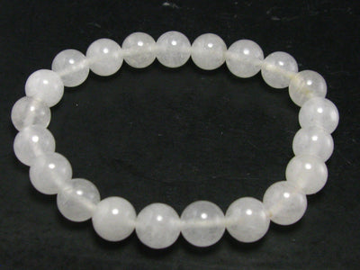 "Genuine Azeztulite Bracelet From North Carolina - 7"" - 8mm Round Beads"