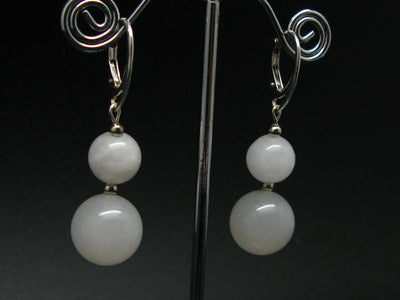Energy! Genuine Azeztulite 10mm and 14mm Round Beads Dangle 925 Silver Leverback Earrings From North Carolina