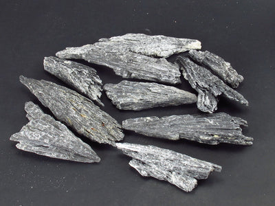 Lot of 10 Rare Black Kyanite Crystals From Brazil - 74 Grams