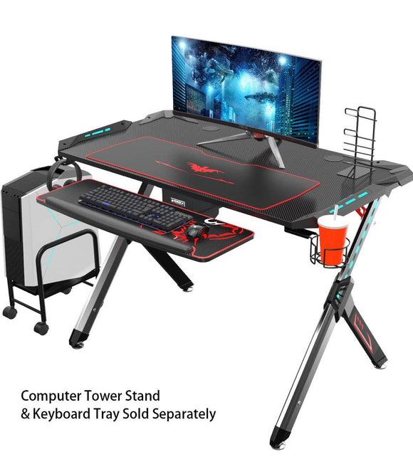 Eureka Ergonomic Gaming Desk RGB, R1-S, Sturdy Aluminum Alloy Table Legs with Cup Holder Headphone Hook - Black GamingHeadsetPros.com