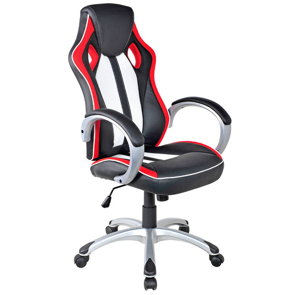Executive Racing Style Gaming Chair Modern High Back Bucket Seat - Black/Red/White GamingHeadsetPros.com