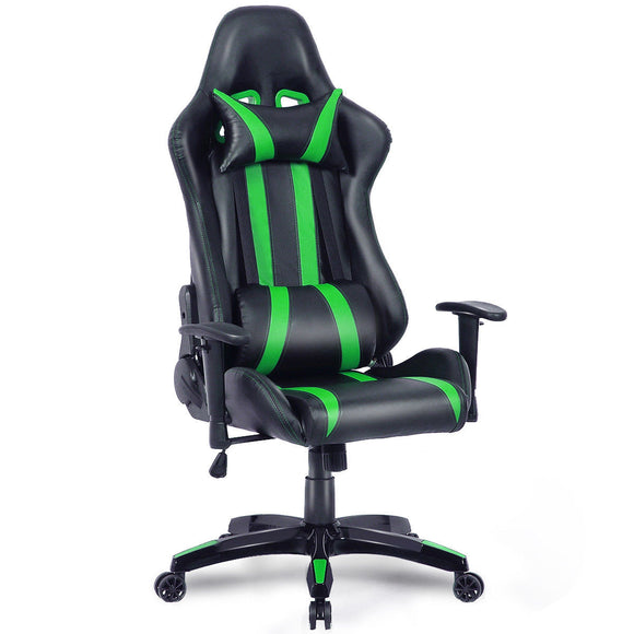 Executive Racing Style High Back Reclining Chair Gaming Chair Office Computer (Black+Green) GamingHeadsetPros.com