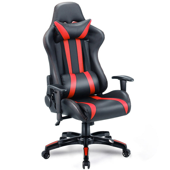 Executive Racing Style High Back Reclining Chair Gaming Chair Office Computer (Black+Red) GamingHeadsetPros.com